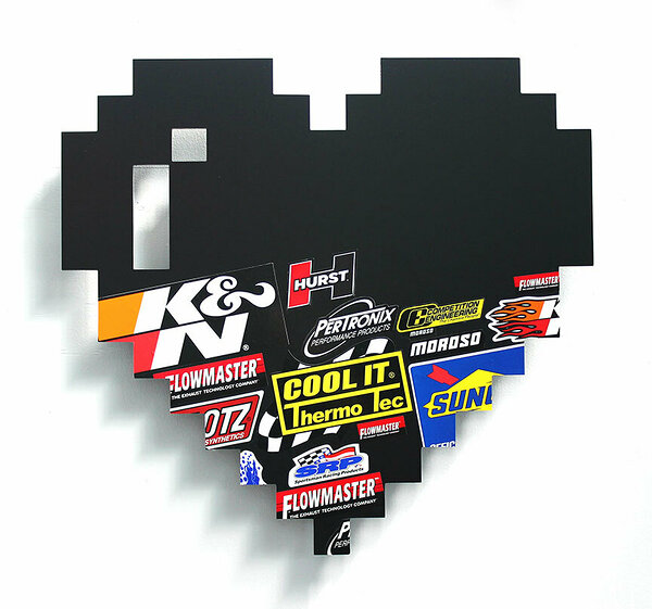 Racing Heart (K&N), 2017, dibond, decals, 24 x 26 inches