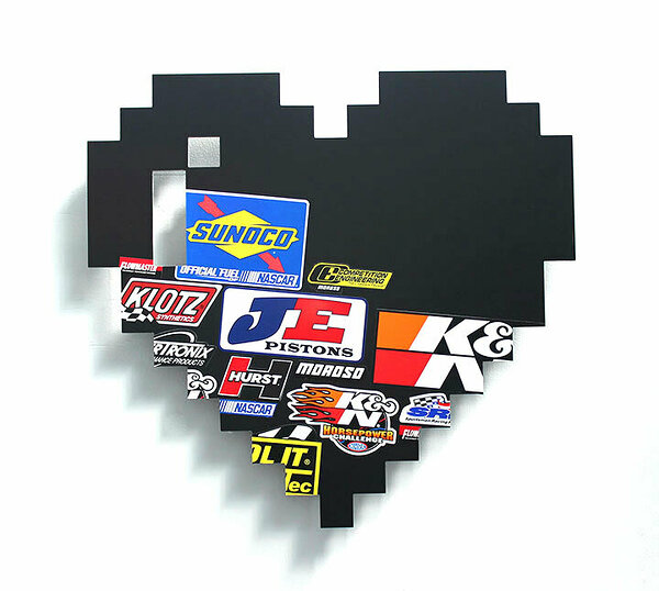 Racing Heart (Sunoco), 2017, dibond, decals, 24 x 26 inches