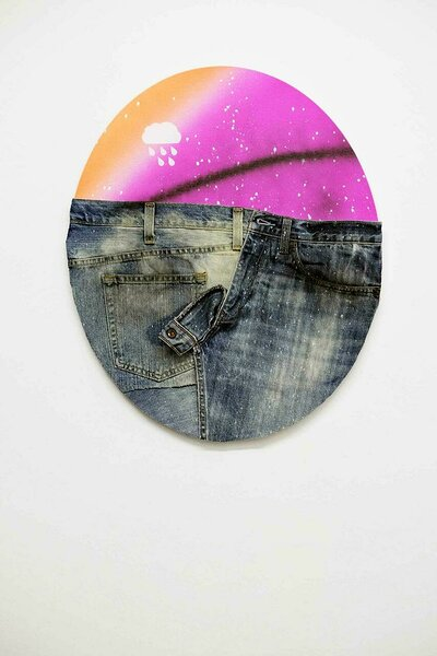 American Dirt Effect (Purple Tondo), 2017, upcycled denim and acrylic on canvas, 24 x 20 inches