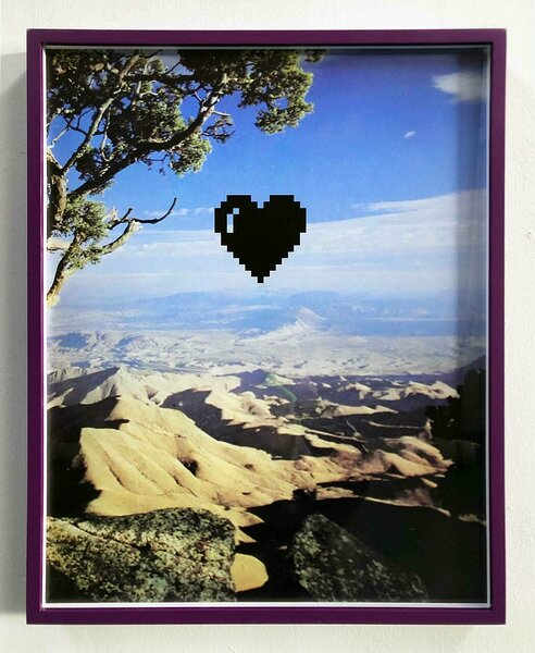 Foothills (with Pixel Heart), 2020, archival inkjet print mounted on dibond, custom frame, 20 x 16 inches