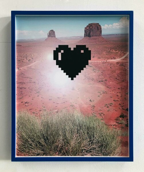 Monument Valley (with Pixel Heart), 2020, archival inkjet print mounted on dibond, custom frame, 20 x 16 inches