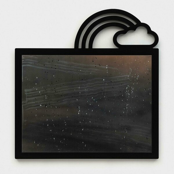 Uncontained (Orange with Cloud and Rainbow), 2020, acrylic on canvas, PVC and plexiglas artist's frame, 46 x 44 1/4 inches
