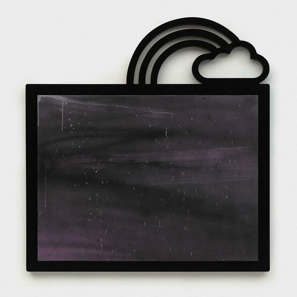 Uncontained (Purple with Cloud and Rainbow), 2020, acrylic on canvas, PVC and plexiglas artist's frame, 46 x 44 1/4 inches
