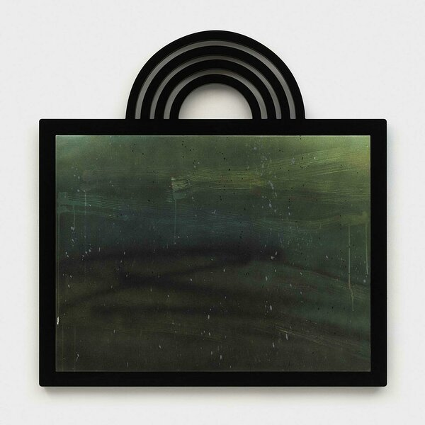 Uncontained (Teal with Rainbow), 2020, acrylic on canvas, PVC and plexiglas artist's frame, 46 x 44 1/4 inches