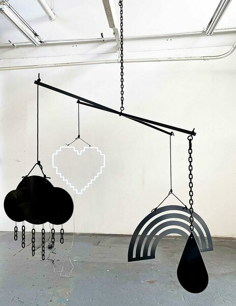 Mobile (Love), 2021, dibond, aluminum, powder coated steel chain, nylon rope, ball chain, hardware, LED, 96 x 96 x variable height