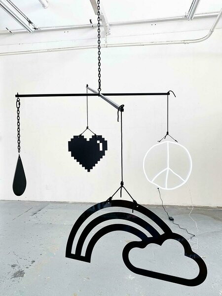Mobile (Peace), 2021, dibond, aluminum, powder coated steel chain, nylon rope, ball chain, hardware, LED, 96 x 96 x variable height
