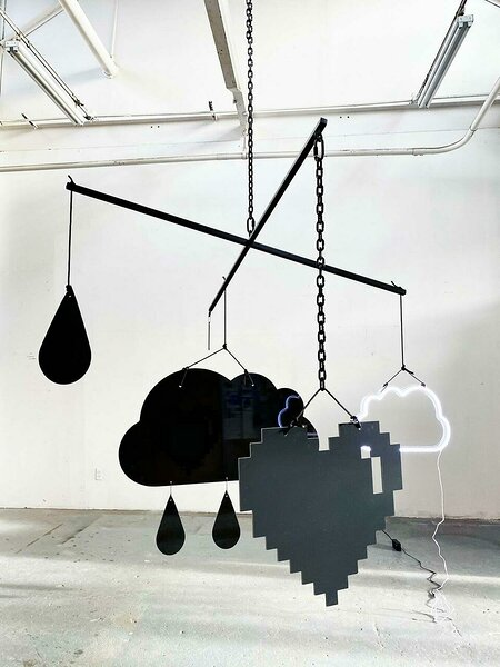 Mobile (Rain), 2021, dibond, aluminum, powder coated steel chain, nylon rope, ball chain, hardware, LED, 96 x 96 x variable height