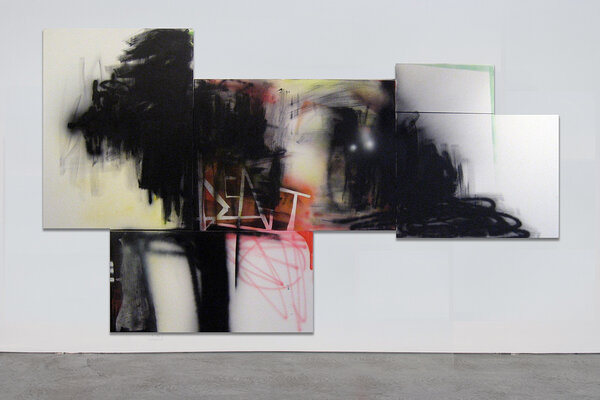 Bent, 2008, acrylic and spray paint on four canvases, 72 x 124 inches