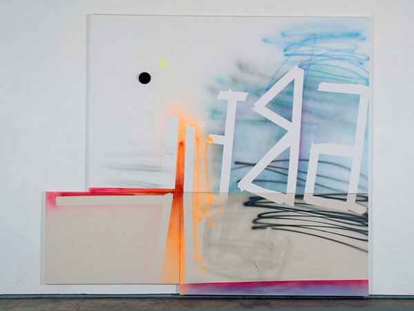 Abet, 2009, acrylic on three canvases, foam ball, 95 x 109 3/4 inches