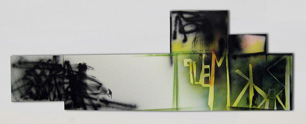 Korner, 2009, acrylic and spray paint on five canvases, 42 x 120 inches