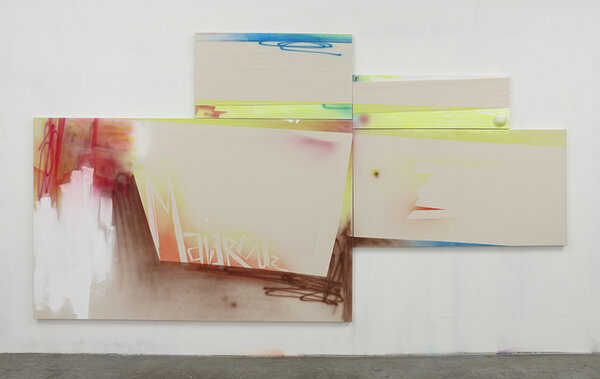 Zombie Bank, 2009, acrylic on four canvases, foam ball, 84 x 168 inches