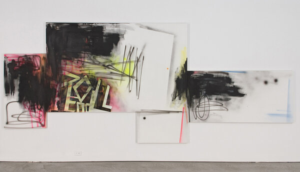 Pile Driver, 2008, acrylic and spray paint on four canvases, 81 1/4 x 196 inches