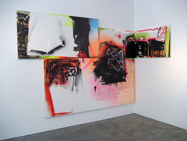 Back to Scrape, 2007, acrylic and spray paint on three canvases, 82 1/2 x 115 x 44