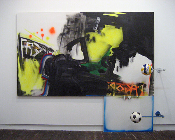 nevercracked/roomy, 2007, acrylic and spray paint on two canvases, steel, soccer balls, 86 x 96 x 16 inches