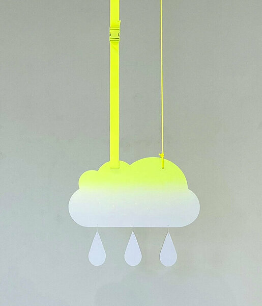 Fade Cloud (Yellow), 2020, acrylic on dibond, nylon rope, buckle, 30 x 25 inches